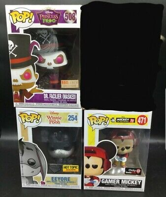 Disney Funko Pop Lot: Mickey, Eeyore, Dr Facilier