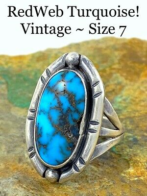 BIG c1960s Navajo Sterling Silver GEM PERSIAN RED SPIDERWEB Turquoise Ring Sz 7