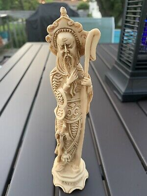 """Asian chinese vintage Ivory Color Resin Figure 8"""" Tall With Sword And Staff"""