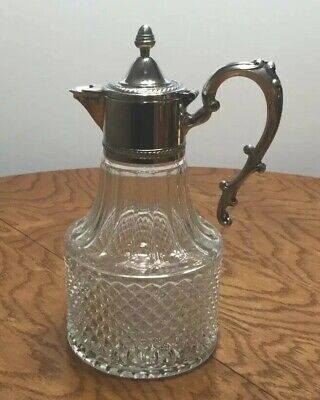 Vintage Silver Plated Crystal Carafe Pitcher Made In Italy