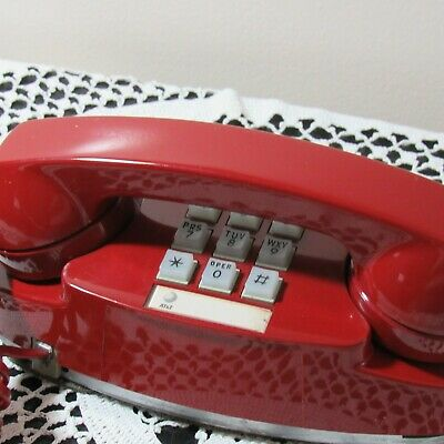Vintage A T&T Princess Phone Red Touch Tone Western Electric