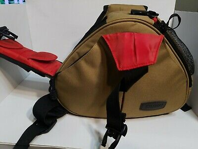 Caden Triangle Camera Bag Carry Case Sling Shoulder Strap Waterproof Tan/Black
