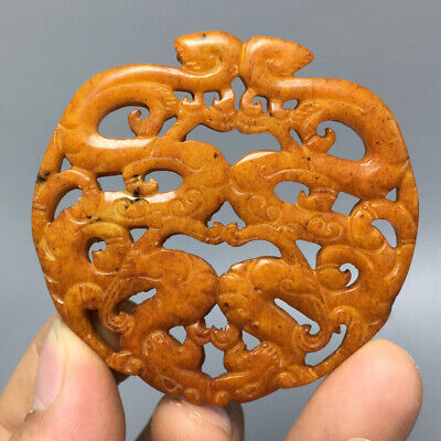 44g Chinese old natural jade Hand-Carved statue The dragon turtle pendant d75