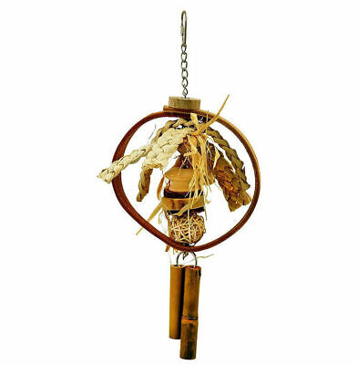 Northern Parrots Fun Slice Natural Bird Toy with Wood Wicker Grass and Leather