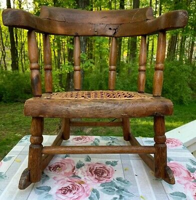 Antique UNIQUE Child's Rocking Chair CANE Seat  Hand Crafted BEST