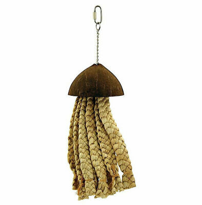 Northern Parrots Jellyfish Hanging Bird Toy with Coconut and Natural Grass