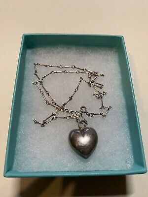 "VINTAGE TIFFANY & CO Puffed Heart Necklace Pendant 925 sterling 18"" chain RARE"
