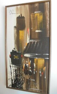 Vintage MID-CENTURY Abstract Asian Rickshaw Oil Painting Canvas Signed Le R ?