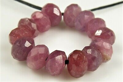 BARGAIN ~ Gemmy Natural Ruby Faceted Small Rondelle- 6mmx 3.5mm- 14 beads- 7520A