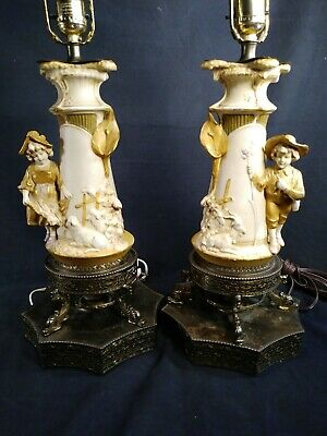 Early Antique Pair of Royal Dux Figural Porcelain Lamps~Boy And Girl~Free Ship