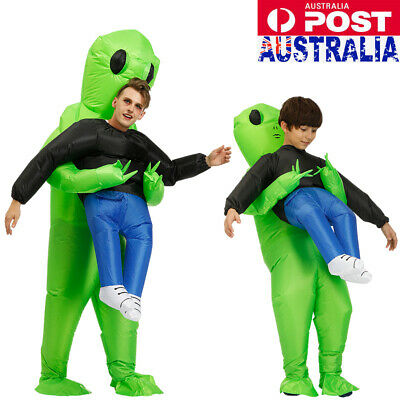 New Scary Halloween Green Alien Inflatable Costume Blow Up Suits Party Dress AU