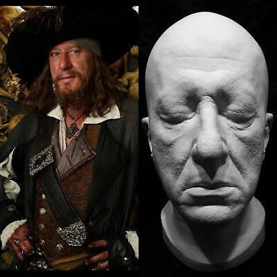 "Geoffrey Rush Life Mask Cast Deep 3/4 ""Pirates of the Caribbean""Capt. Barbossa""!"