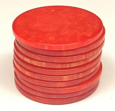 Single Vintage Cherry Red Catalin Bakelite Poker Chip Marble Swirl