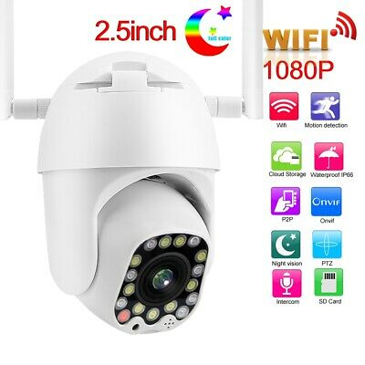 "Wireless Camera 2.5"" 1080P HD WiFi Dome Security IR PTZ 17/23-LED Night View"