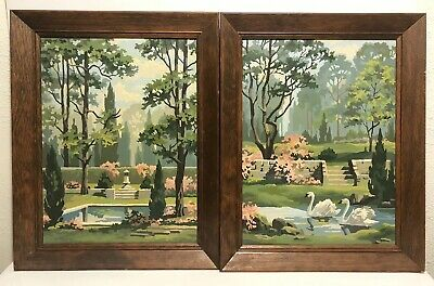 Lot Of 2 Vintage Paint By Number Swans Garden Quiet Lagoon Pink Wooden Framed