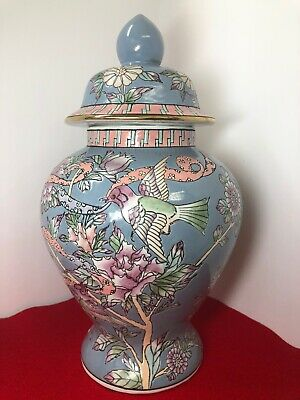 "Antique ~Chinese Porcelain  Large  Blue Floral with Birds Ginger Jar ~15.5"" Tall"