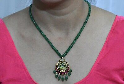 Vintage-antique-solid-22-K-Gold-Ruby-emerald-diamond-Pendant-necklace
