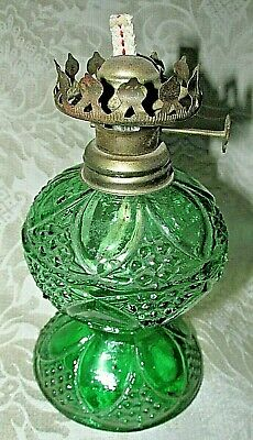Vintage Green Glass Lamp Base Only Hong Kong w/ Wick Working Side Knob 17CmT