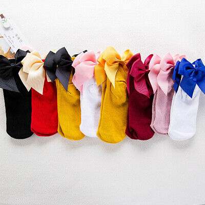 Spanish Baby Girl knee high socks double bow Romany Toddler Babies school ribbon