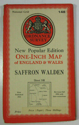 1946 Old OS Ordnance Survey One-Inch New Popular Edition Map 148 Saffron Walden