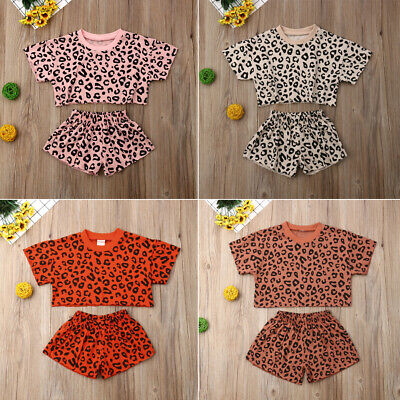 Kids Baby Girls Leopard Short Sleeve T-shirt Tops Shorts O-Neck Outfits Clothes