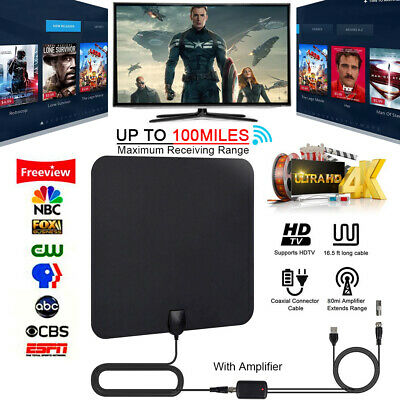 Indoor TV Antenna+ Digital Aerial HD Freeview Amplified Thin HDTV 100 Mile Range