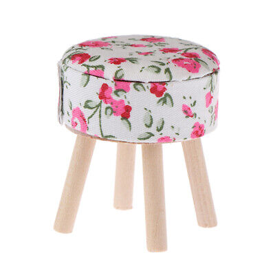 1:12 Dollhouse miniature furniture round floral stool for dolls house de IO