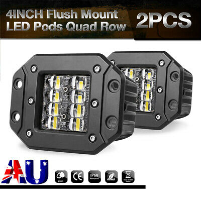 PAIR 160W 4 inch Orsam Flush Mount LED Work Lights Spot Flood Reverse Truck 5""