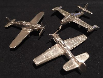 Silver WWII Airplanes - Rare Set of 3 Unique Items