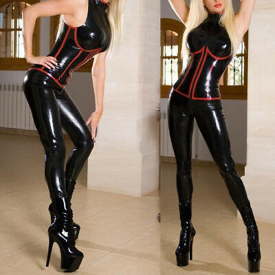 Women Red Latex Catsuit Bodysuit&Wetlook Black Clubwear PVC Leather HOT New