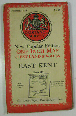 1946 Old OS Ordnance Survey One-Inch New Popular Edition Map 173 East Kent