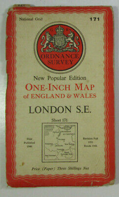 1946 Old OS Ordnance Survey One-Inch New Popular Edition Map 171 London S E