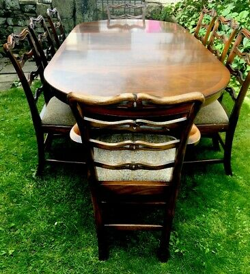 Rare Quality Rackstraw Antique Style   8 Seater  Dining Room Table 8ft & Chairs