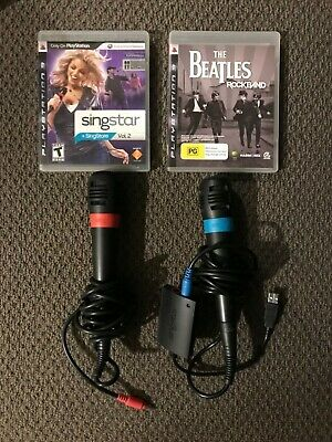 Singstar USB Microphones X 2 with Converter PS2 and PS3 with 2 x games