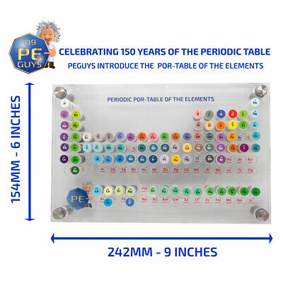 The 82 Piece Periodic Elements Sample POR- TABLE SMALLEST USABLE TABLE IN WORLD