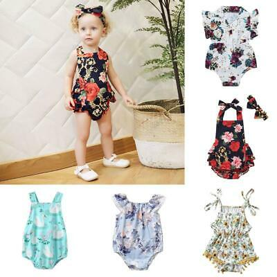 2pcs Infant Newborn Baby Floral Romper Bodysuit Jumpsuit Outfits Clothes Sunsuit