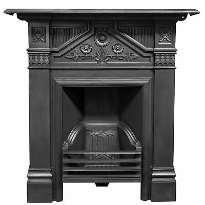 Antique Late Victorian, Early Edwardian Cast Iron Combination Fireplace
