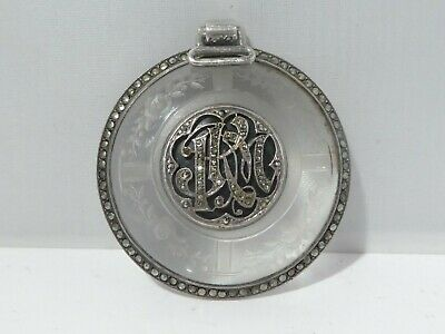 Antique Victorian Sterling Silver Etched Glass And Marcasite Pendant