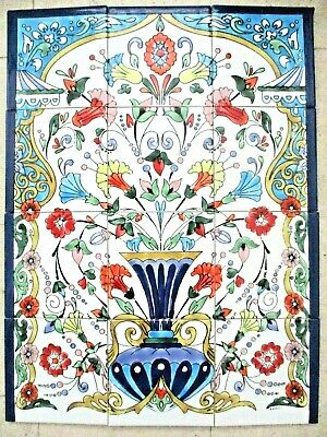 "Ceramic tile art Mosaic mural panel Antique floral vase BACKSPLASH 18"" x 24"""