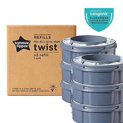 6 Tommee Tippee Sangenic Tec Citrus Refill x 6 | Nappy Disposal Bin Cassette x 6