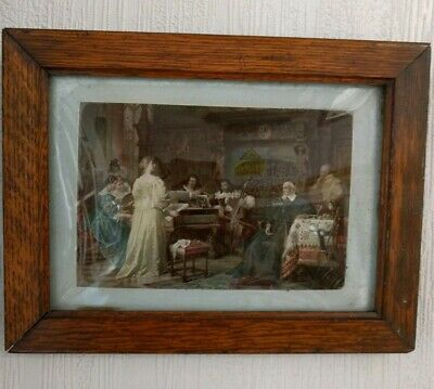 Antique Victorian Hand Painted Bevelled Crystoleum Oak Frame Picture