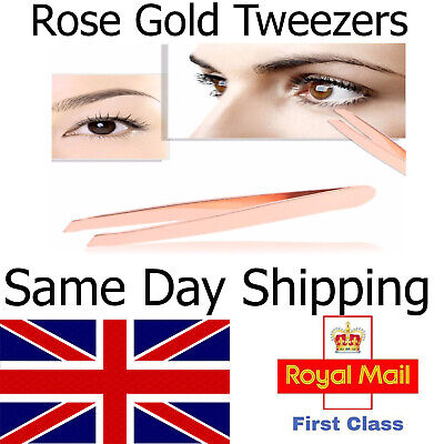 Rose Gold Professional Eyebrow Tweezers Plucking Beauty Slanted Stainless Steel