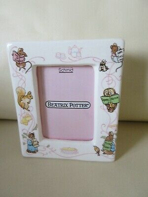 "Vintage Schmid Beatrix Potter Peter Rabbit China Photo Frame 1992 4"" By 3.5"""