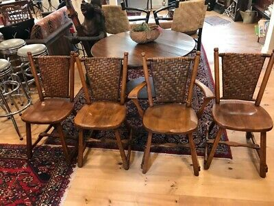 4 Vintage Old Hickory No5-35P Dining Chairs Circa 1940 Excellent Condition!