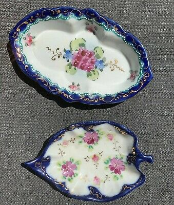 Antique Pair (2) Porcelain China Hand Painted Blue Floral Leaf Dishes