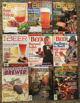 ALL ABOUT BEER MAGAZINE - 9 ISSUE LOT! Craft Beer Brewing Brewery Homebrew