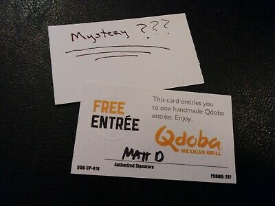 (1) Qdoba Free Entree Voucher+1 Mystery Combo Meal Voucher (No Expiration)