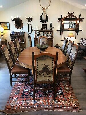 8 Old Hickory Durango Dining Chairs Leather Seats (2 are Arm Chairs)