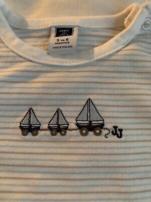 Janie & Jack Diaper Shirt One-piece White Baby Blue Sailboat 3-6M Stripe LS