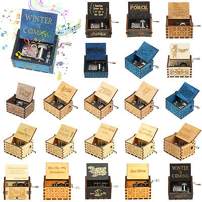 Retro Wooden Music Box Antique Hand Crank Engraved Toys Kids Interesting Gift